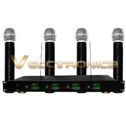 Fabuloso Set De 4 Microfonos Inalambricos Con Receptor Wow.