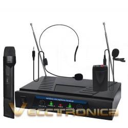 127321-MLM20772050273_062016,Increible Set De Microfonos De Diadema Y Solapa Con Receptor
