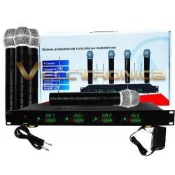914421-MLM20761730256_062016,Unico Set De 4 Microfonos Profesionales Inalambricos Genial