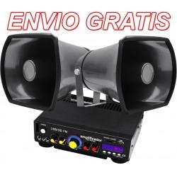 Kit De Perifoneo: Amplificador + 2 Trompetas + plug para encendedor de auto.