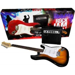408201-MLM20286735673_042015,Vecctronica: Kit Guitarra Electrica Amplificador Atril Funda